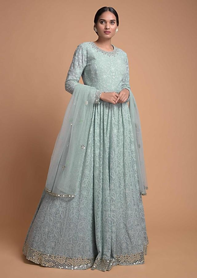 Liquid Blue Anarkali Suit With Lucknowi And Abla Work Online - Kalki Fashion