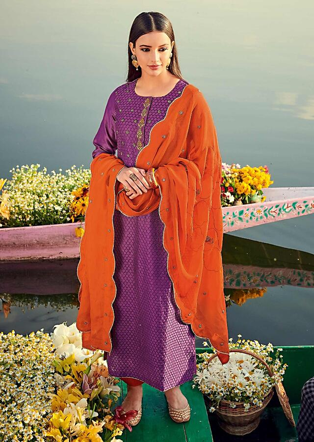 Lollipop Purple Straight Cut Suit In Cotton With Resham Embroidered Moroccan Jaal And Zardozi Work Online - Kalki Fashion