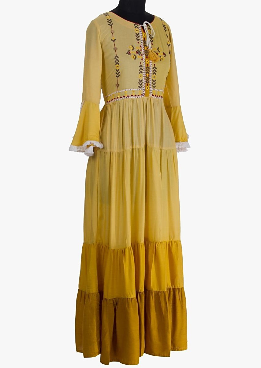 e3b527a00e38 Long cotton tunic dress with gathers in shades of yellow only on Kalki
