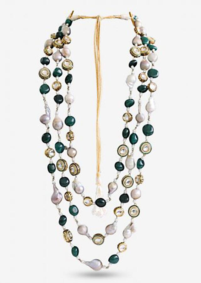Long Layered Necklace Strung With Baroque Pearls, Sparkling Kundan And Striking Semi-Precious Green Stones By Prerto