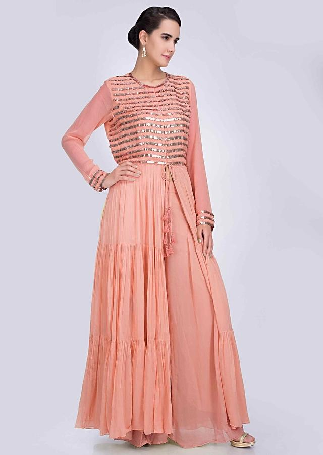 Long Peach Jacket With Embroidery Work And Matching Georgette Plazzo Online - Kalki Fashion