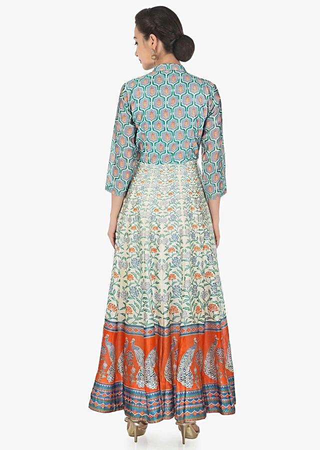 Long Dress In Cotton Silk With Multi Color Print Online - Kalki Fashion