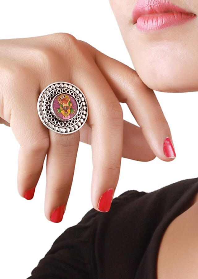 Lord Ganesha Handmade Painted Ring In Carved Round Pattern Made In Sterling Silver By Sangeeta Boochra