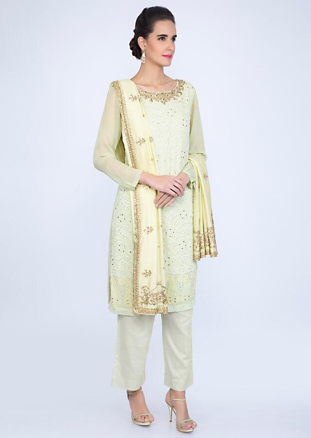 Light Pista Suit In Georgette With Lucknowi Embroidery And Contrasting Lime Yellow Dupatta Online - Kalki Fashion