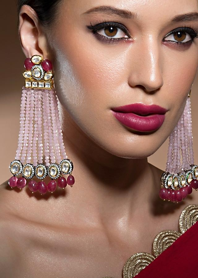 Lush Kundan Polki And Onyx Drop Earrings With Beautiful Soft Pink Agate Bead Strings Online - Joules By Radhika