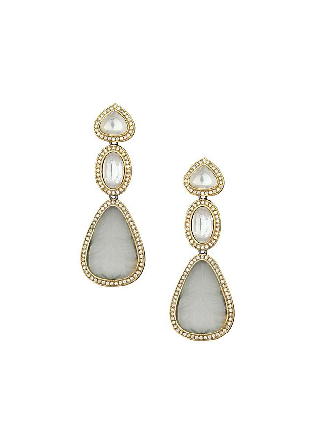 Luxury Kundan Polki Earring With Glittering Swarovski Stones And Hand-Carved White Onyx Online - Joules By Radhika