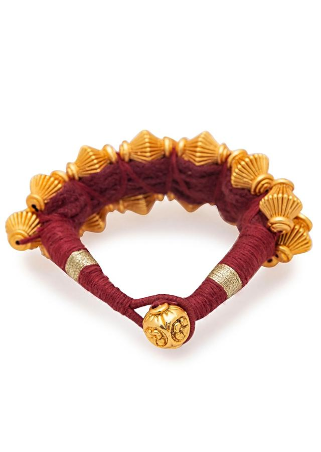 Luxury Red Silk Thread Bracelet With Shimmering Gold Plated Beads  Online - Joules By Radhika
