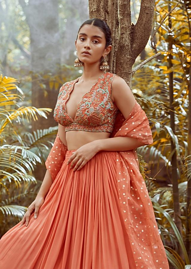 Fusion Coral Skirt In Crepe With Hand Embroidered Raw Silk Choli With Plunging Neckline Online - Kalki Fashion