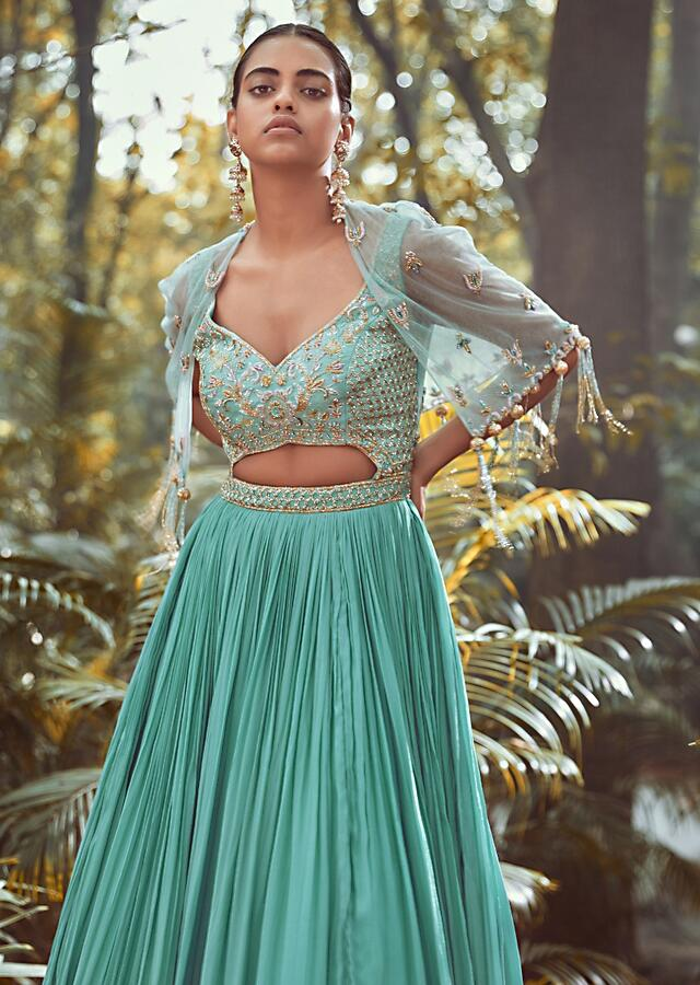 Pale Turquoise Gown With Front Cut Out On The Hand Embroidered Bodice And Topped With Matching Cape Jacket Online - Kalki Fashion