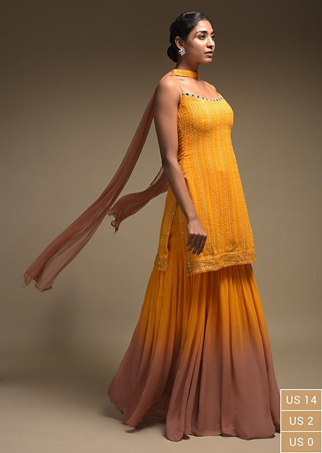 Reem Sameer In Kalki Amber Yellow And Brown Shaded Sharara Suit In Georgette With Thread Embroidery