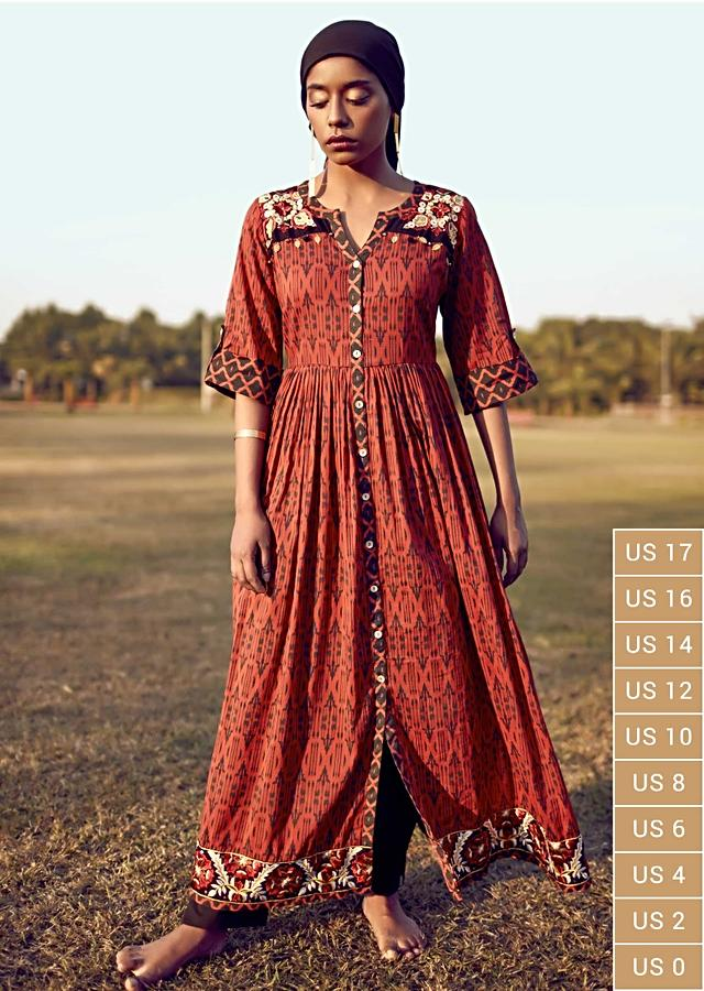 Persian Red A Line Suit In Cotton With Tribal Print And Colorful Resham Flowers On The Yoke And Hem Online - Kalki Fashion