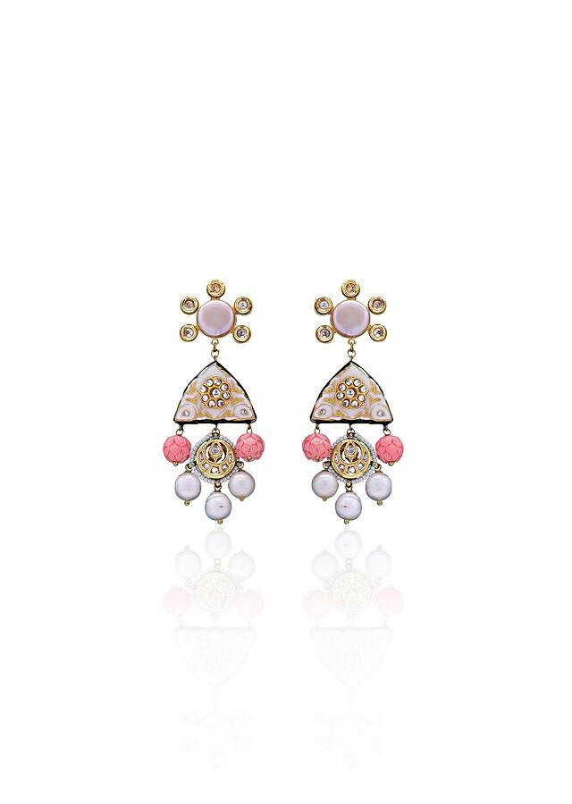 Classic White Enamelled Earring With Pink Rose Quartz, Baroque Pearls And Corals  Online - Joules By Radhika