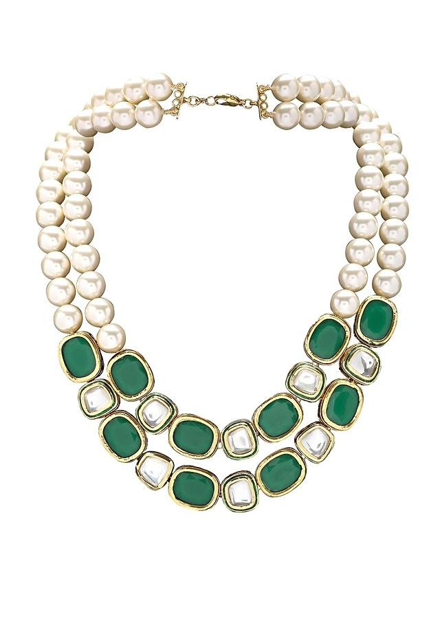Classic Green Onyx Necklace With Shell Pearls And Kundan Online - Joules By Radhika