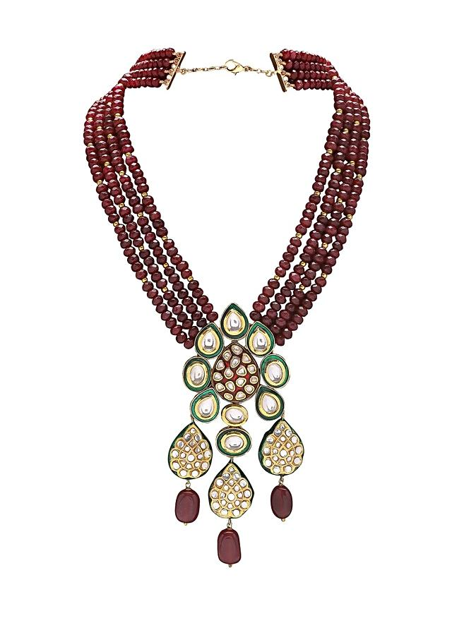 Festive Necklace With Red Bead Strands And Green Enamelled Kundan Pendant Online - Joules By Radhika