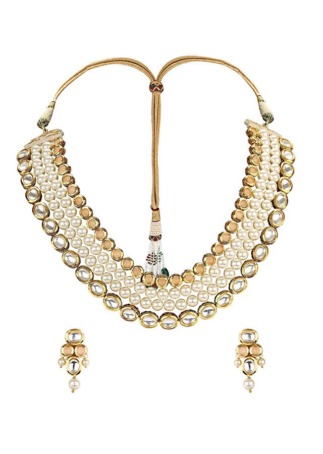 Gold Plated Classic Earring And Necklace Set With Kundan And Shell Pearl  Online - Joules By Radhika