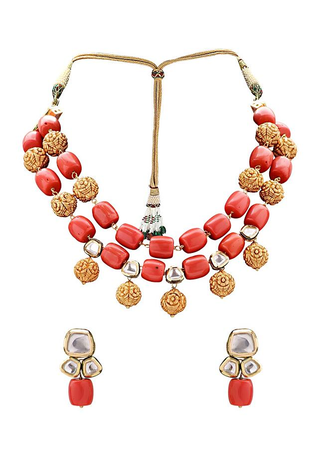 Earring And Necklace Set With Gold Toned And Corals  Beads Online - Joules By Radhika