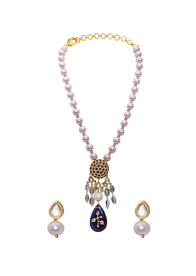 Blue Necklace Set Made In Baroque Pearls, Rose Quartz And Hydro Blue Sapphires Joules By Radhika