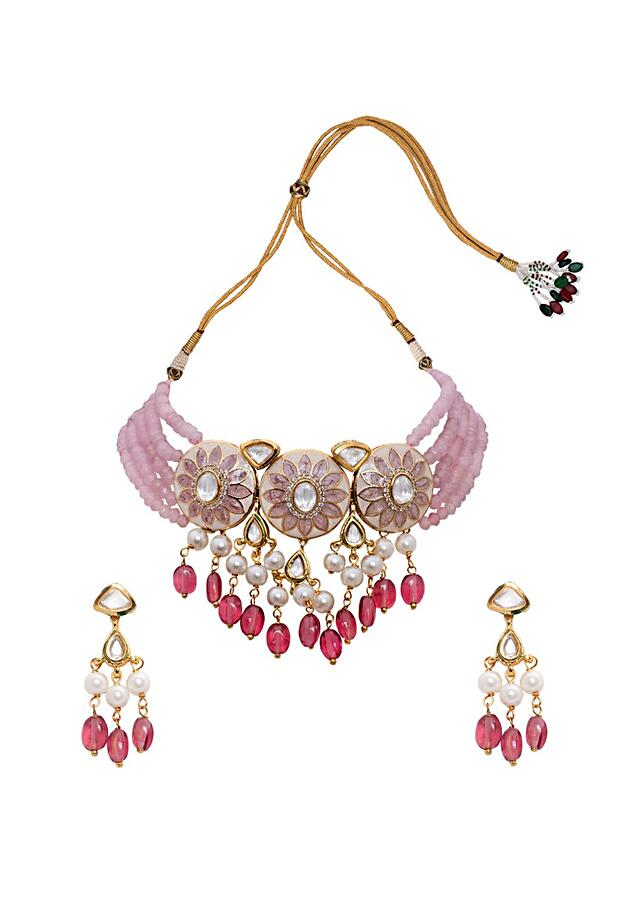 Pink And White Necklace Set With Kundan And Meenakari Along With Dangling Jades And Shell Pearls Joules By Radhika