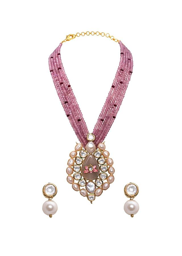 Red Beaded Necklace Set With Elaborate Kundan Pendant, Baroque Pearls And Agate Beads Joules By Radhika