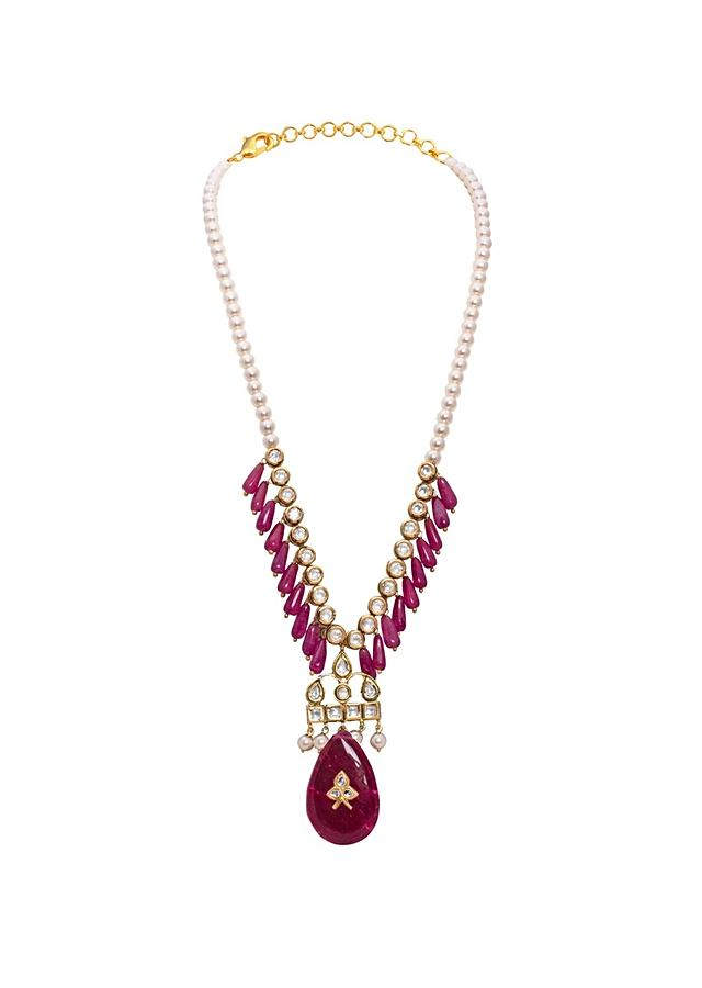 White And Red Kundan Long Necklace With Jade Drops And Shell Pearls Joules By Radhika