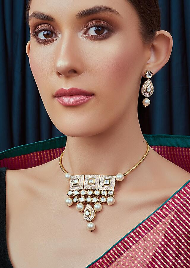 Pink And White Meenakari Necklace Set Encrusted With Kundan And Dangling Shell Pearls Joules By Radhika