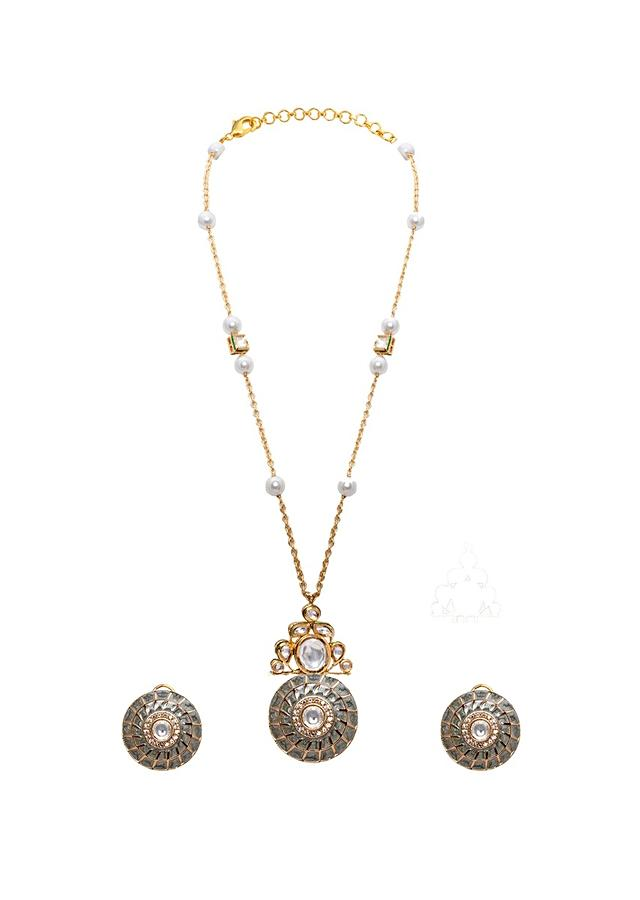 Green Gold Plated Long Necklace Set With Round Kundan Pendant And Bedecked By Shell Pearls Joules By Radhika