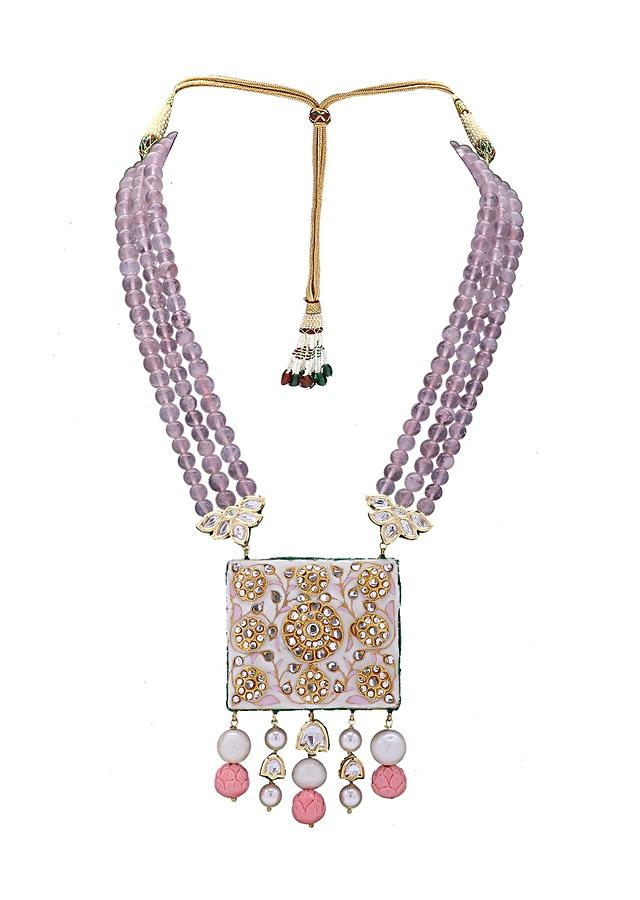Pink Kundan Pendant Necklace With Rose Quartz Beads And Baroque Pearls Online - Joules By Radhika