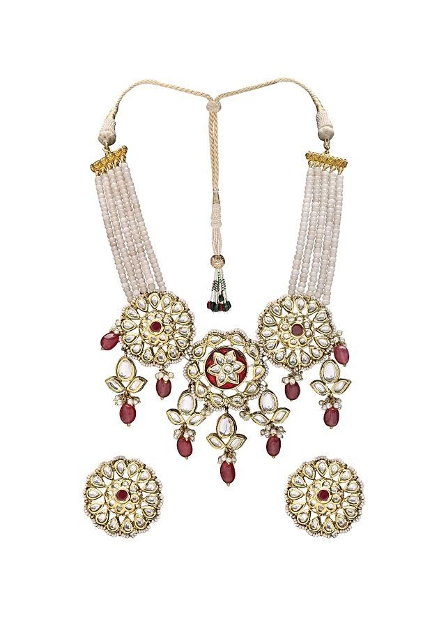 Bridal Kundan Choker Set In Floral Motifs With Red Semi Precious Stones And Pearls  Online - Joules By Radhika