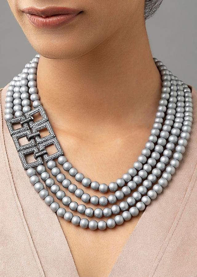 Grey Multi Layered Necklace With Shell Pearls And Swarovski Studded Highlight Online - Joules By Radhika