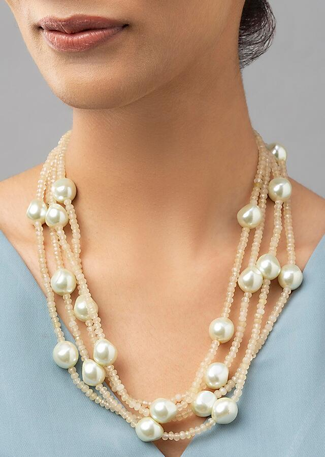 Yellow Necklace Made Of Four Layers Shell Pearls And Agate Bead Strings Online - Joules By Radhika