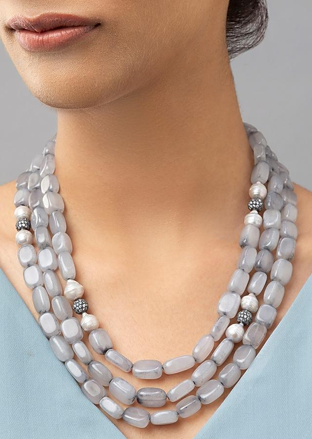 Grey Multi Layered Necklace With Agate Beads, Shell Pearls And Swarovski Studded Highlight Online - Joules By Radhika