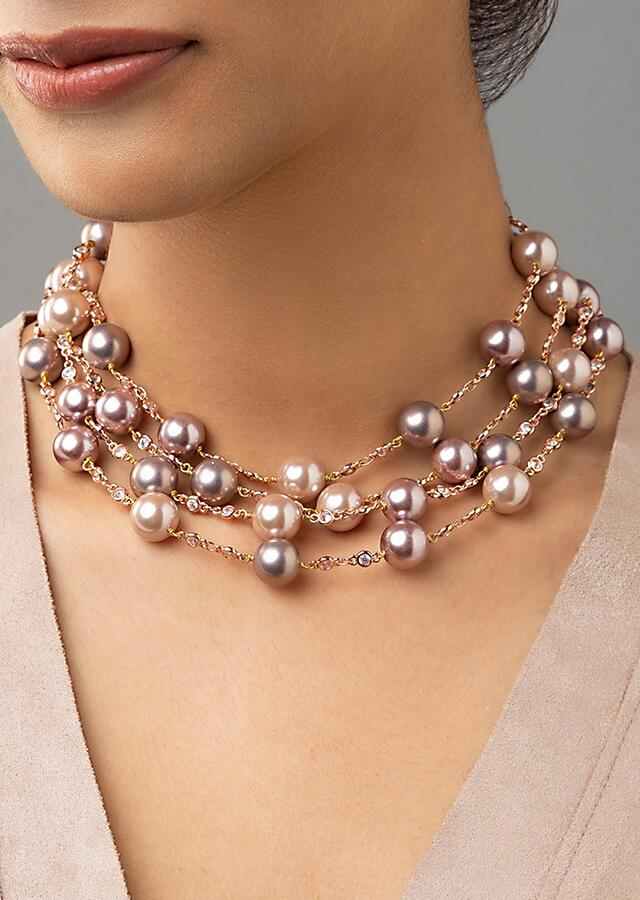 Rose Pink Shell Pearls Necklace In Layered Design With Bead Accents Online - Joules By Radhika