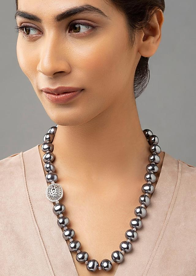 Brown Tinged Necklace With Agate Beads, Shell Pearls And Swarovski Beads Online - Joules By Radhika