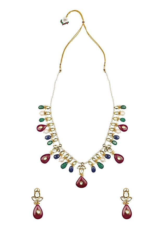 Red And Green Kundan Necklace And Earrings Set Online - Joules By Radhika