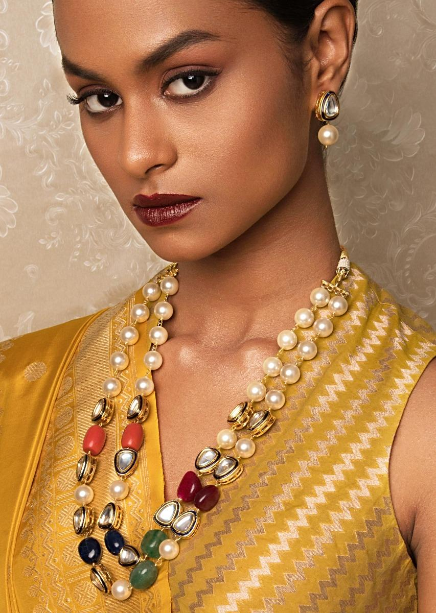 New Age Wonder Off White And Blue Kundan Necklace And Earrings Set With Shell Pearls And Jade Beads Online - Joules By Radhika