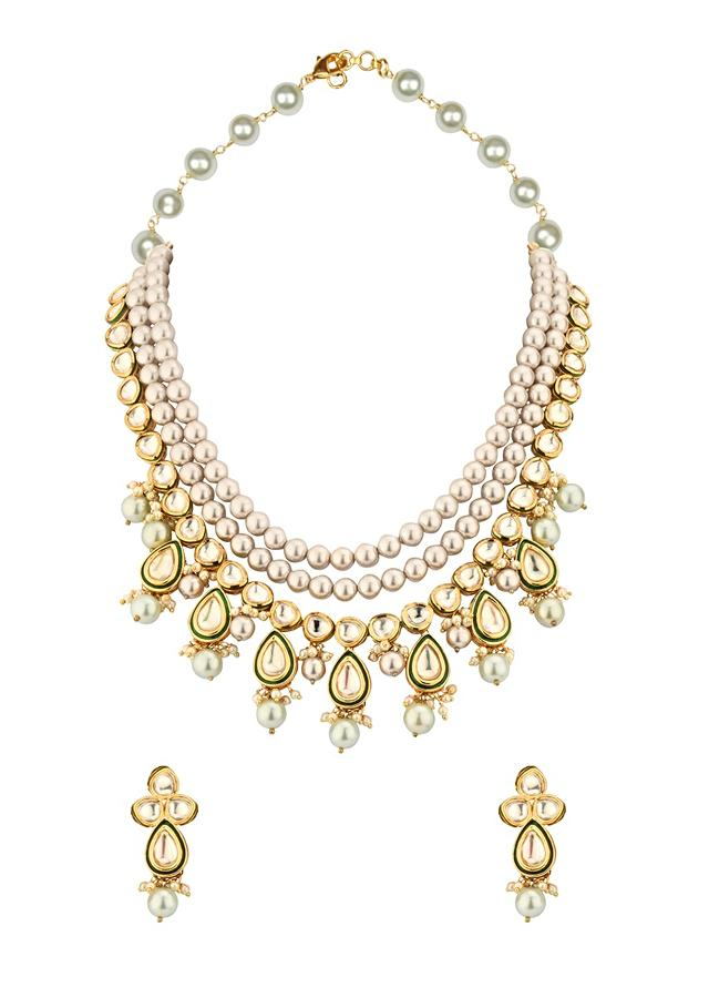 Cream And Green Layered Necklace And Earrings Set Adorned With Kundan And Shell Pearls Online - Joules By Radhika