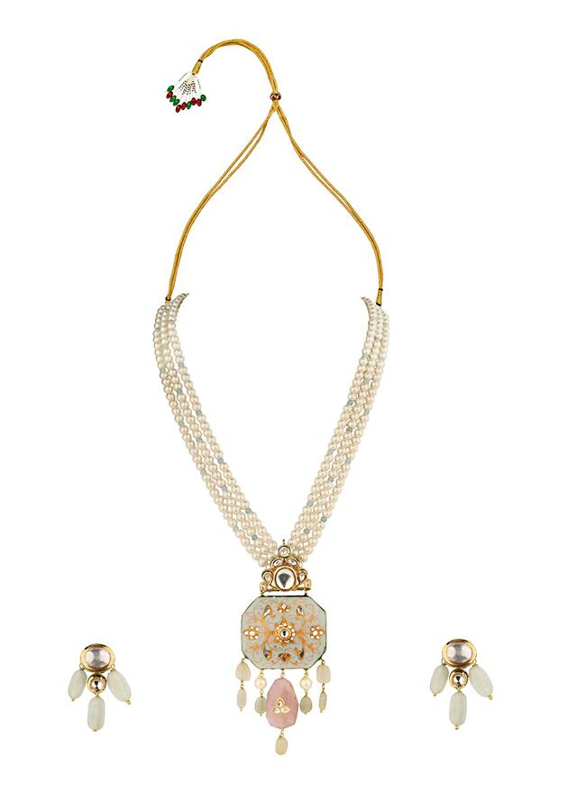 Blue And White Enamelled Necklace And Earrings Set With Kundan, Jade Drops And Shell Pearls Online - Joules By Radhika