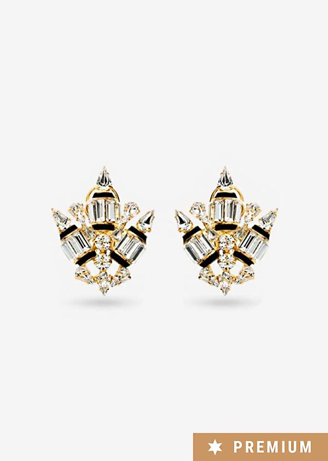 Gold-plated Studs With Swarovski Crystals, Absolute Symmetry And Neutral Color Palette By Prerto