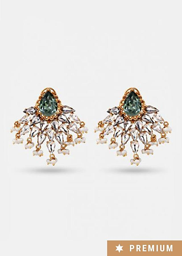 Rose Gold Studs With Intricate Pearl And Crystal Detailing By Prerto