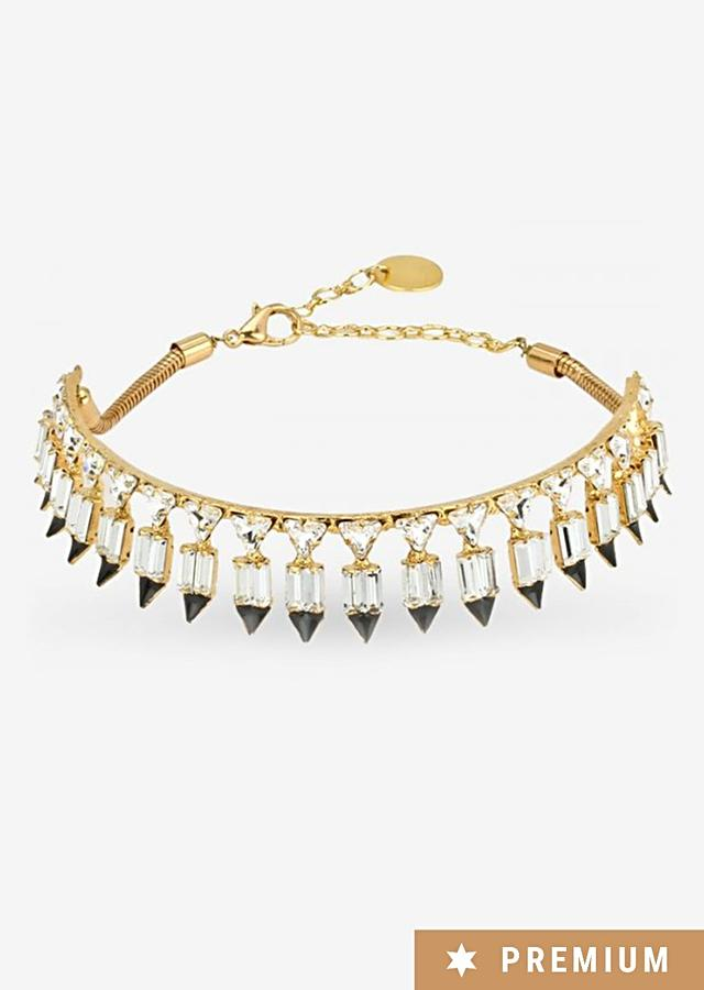 Gold-plated Choker With Crisp Cut Crystals In Monochromatic Color Scheme By Prerto
