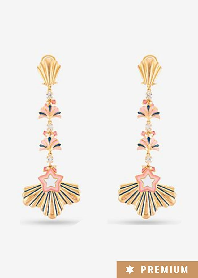 Multi Color Earrings Accented With Mirror Work, Glinting Swarovski Stones And Beautiful Enamel Work By Prerto