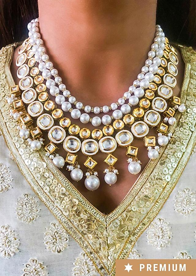 Gold Plated Necklace With Beautiful Dangling Pearls And Kundan Work By Prerto