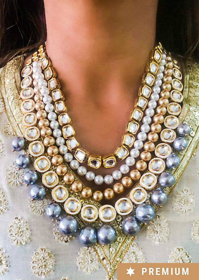 Multi Coloured Layered Necklace With Kundan, Pearls And Beads By Prerto
