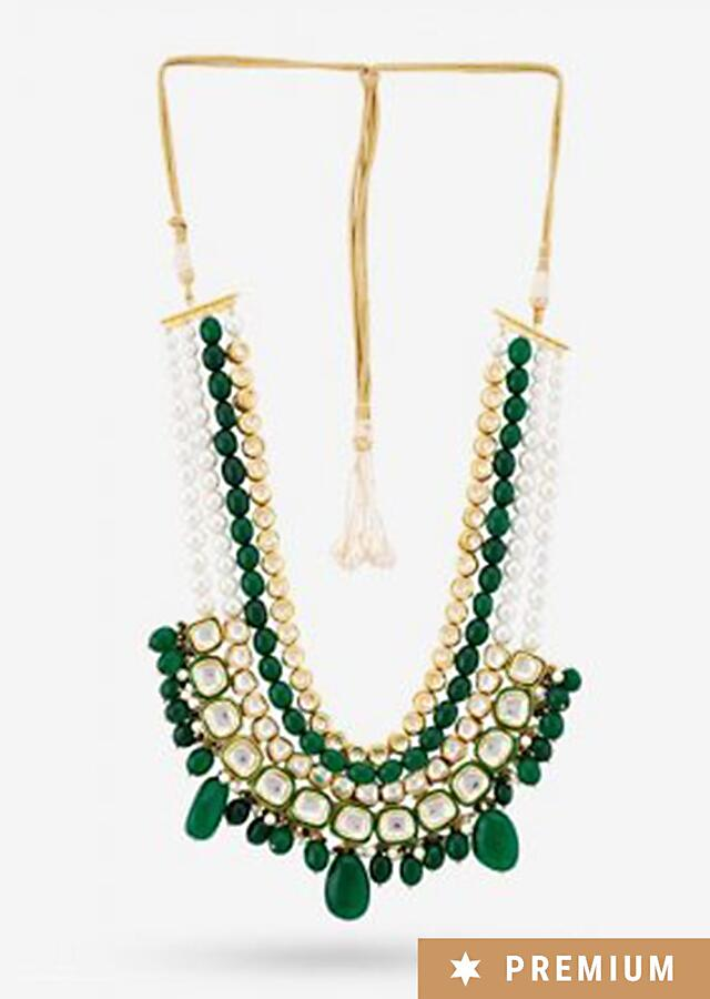 Green Long Necklace Highlighted With Green Beads, Pearls, And Kundan By Prerto