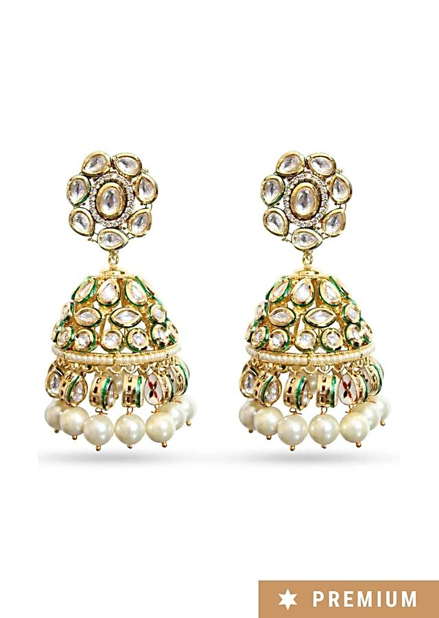Gold Plated Ethnic Jhumkas Handmade With Kundan And Dangling Pearls By Prerto