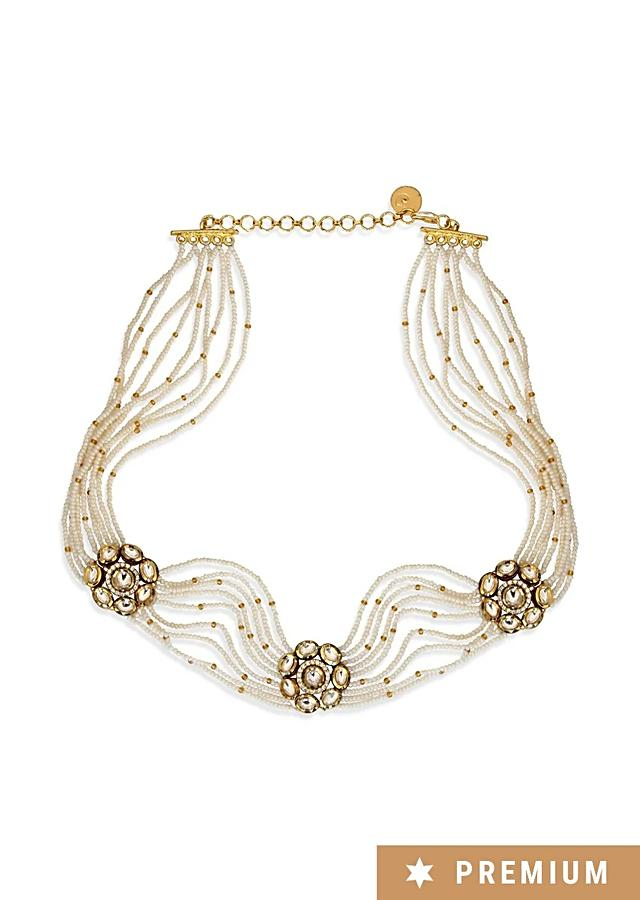 Gold Plated Headband With Strings Of Pearls And Kundan Placed In Flower Pattern By Prerto