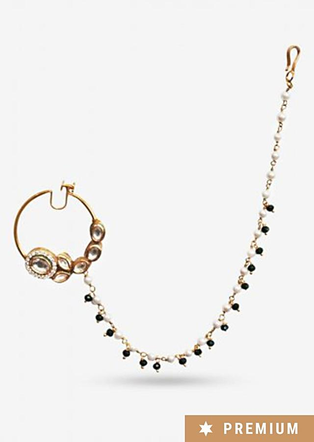 Gold Plated Nose Ring Strung With Delicate Pearls And Green Beads By Prerto