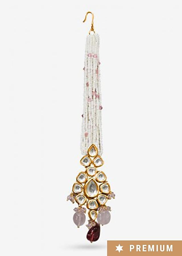 Multi Color Maang Tika Designed With A Kundan Centre, String Of Pearls And Dangling Pink Beads By Prerto
