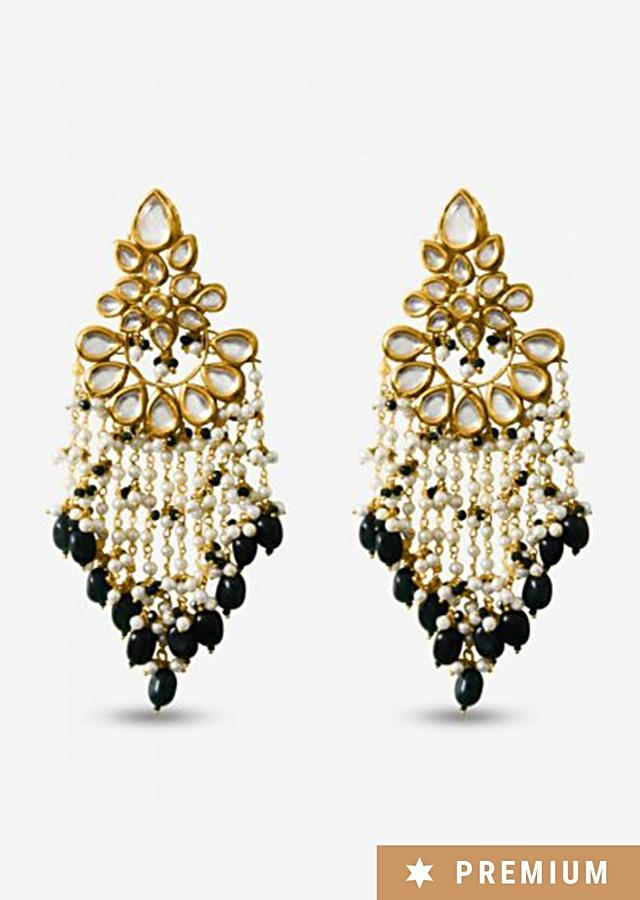Gold Plated Earrings Studded With Kundan Along With Pearl And Green Bead Tassels By Prerto