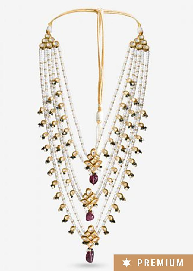 Multi Color Layered Necklace With Pearls, Centre Kundan Accents And Pink Beads By Prerto